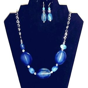Necklace Fire Blue Agate beaded necklace &Earrings